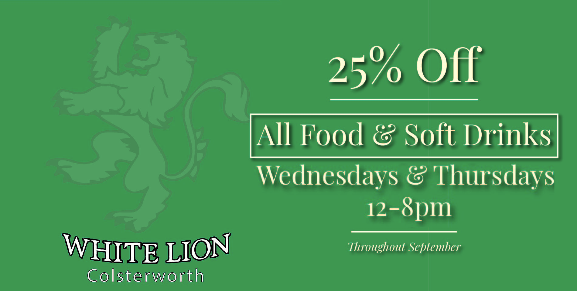 25% Off all Food and Soft Drinks this September