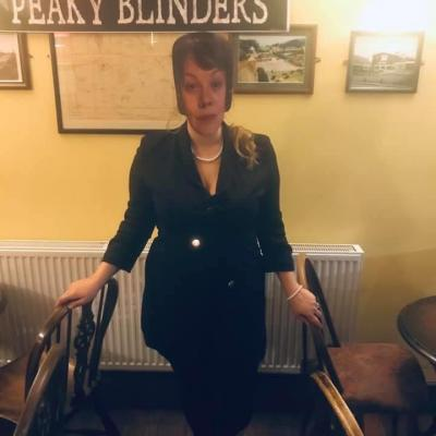 Staff member Ellie, dressed as Polly from Peaky Blinders  White Lion Colsterworth